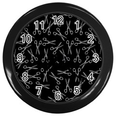 Scissors Pattern Wall Clock (black)