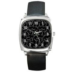 Scissors Pattern Square Metal Watch