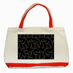 Scissors Pattern Classic Tote Bag (red)