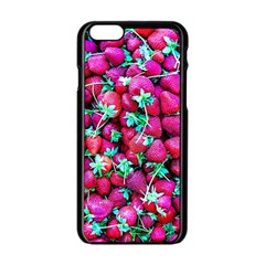 Pile Of Red Strawberries Apple Iphone 6/6s Black Enamel Case by FunnyCow