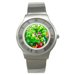 Bleeding Heart Flowers In Spring Stainless Steel Watch by FunnyCow