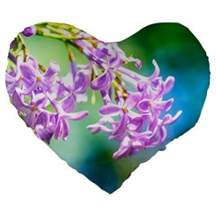 Beautiful Pink Lilac Flowers Large 19  Premium Heart Shape Cushions