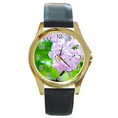 Elegant Pink Lilacs In Spring Round Gold Metal Watch by FunnyCow