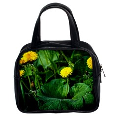 Yellow Dandelion Flowers In Spring Classic Handbags (2 Sides)