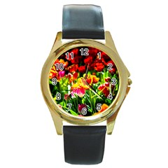 Colorful Tulips On A Sunny Day Round Gold Metal Watch