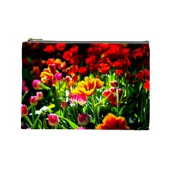 Colorful Tulips On A Sunny Day Cosmetic Bag (large)