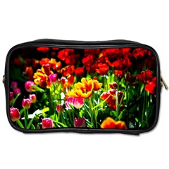 Colorful Tulips On A Sunny Day Toiletries Bags