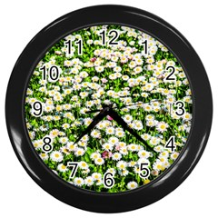 Green Field Of White Daisy Flowers Wall Clock (black) by FunnyCow
