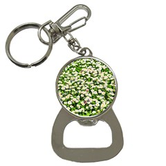 Green Field Of White Daisy Flowers Bottle Opener Key Chains