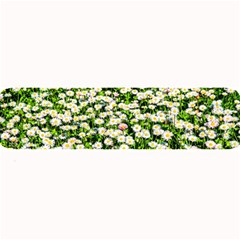 Green Field Of White Daisy Flowers Large Bar Mats by FunnyCow