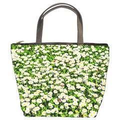 Green Field Of White Daisy Flowers Bucket Bags