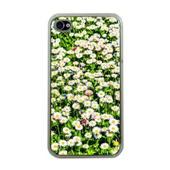 Green Field Of White Daisy Flowers Apple Iphone 4 Case (clear) by FunnyCow