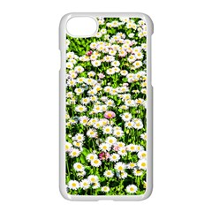 Green Field Of White Daisy Flowers Apple Iphone 7 Seamless Case (white) by FunnyCow