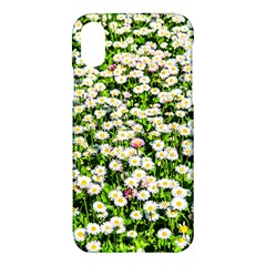 Green Field Of White Daisy Flowers Apple Iphone X Hardshell Case by FunnyCow