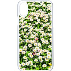Green Field Of White Daisy Flowers Apple Iphone X Seamless Case (white) by FunnyCow