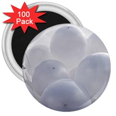White Toy Balloons 3  Magnets (100 Pack)