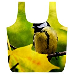 Tomtit Bird Dressed To The Season Full Print Recycle Bags (l)  by FunnyCow