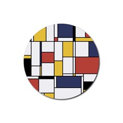 De Stijl Abstract Art Rubber Coaster (round)