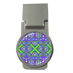 Purple Green Shapes                                        Money Clip (round)