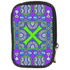 Purple Green Shapes                                        Compact Camera Leather Case