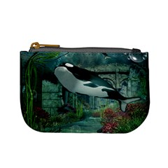 Wonderful Orca In Deep Underwater World Mini Coin Purses