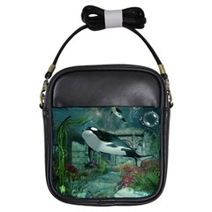 Wonderful Orca In Deep Underwater World Girls Sling Bags by FantasyWorld7
