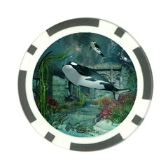 Wonderful Orca In Deep Underwater World Poker Chip Card Guard (10 Pack) by FantasyWorld7