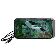 Wonderful Orca In Deep Underwater World Portable Speaker by FantasyWorld7