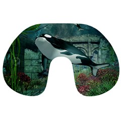 Wonderful Orca In Deep Underwater World Travel Neck Pillows