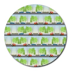 Cars And Trees Pattern Round Mousepads