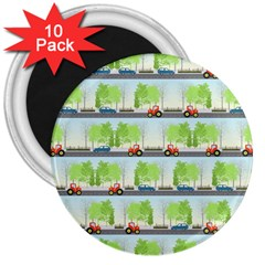 Cars And Trees Pattern 3  Magnets (10 Pack)
