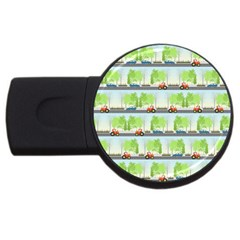 Cars And Trees Pattern Usb Flash Drive Round (4 Gb)