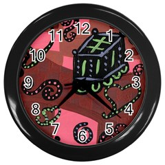 Floating Bed Wall Clock (black)
