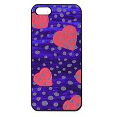 Underwater Pink Hearts Apple Iphone 5 Seamless Case (black)
