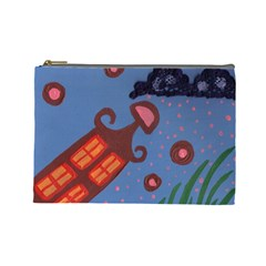 Pink Snow On Grass Cosmetic Bag (large)