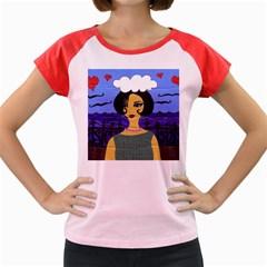 Girl By The Sea Women s Cap Sleeve T Shirt