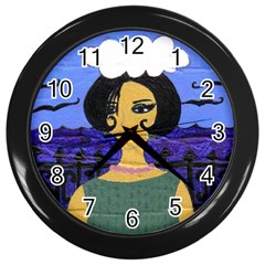 Girl By The Sea Wall Clock (black)