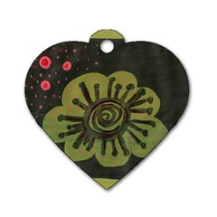 Flower Spitting Out Pink Pollen Dog Tag Heart (two Sides)