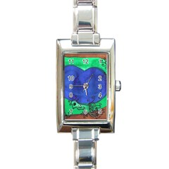 Peacocks Rectangle Italian Charm Watch