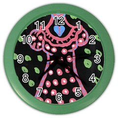 Dress And Falling Leaves Color Wall Clock