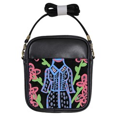 Dress And Flowers Girls Sling Bags