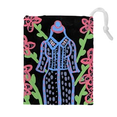 Dress And Flowers Drawstring Pouches (extra Large)