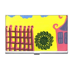 Pink House And Fence Business Card Holders