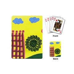 Pink House And Fence Playing Cards (mini)