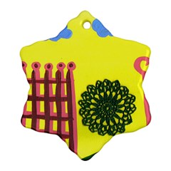 Pink House And Fence Ornament (snowflake)