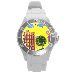 Pink House And Fence Round Plastic Sport Watch (l)
