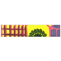 Pink House And Fence Small Flano Scarf