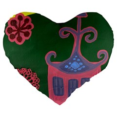 The Biggest Pink House Large 19  Premium Heart Shape Cushions