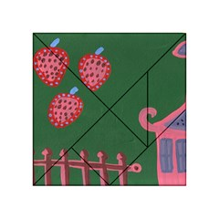 Floating Strawberries Acrylic Tangram Puzzle (4  X 4 )
