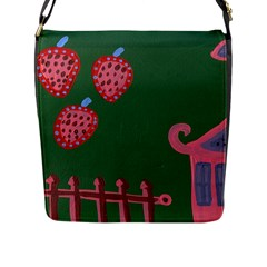 Floating Strawberries Flap Messenger Bag (l)
